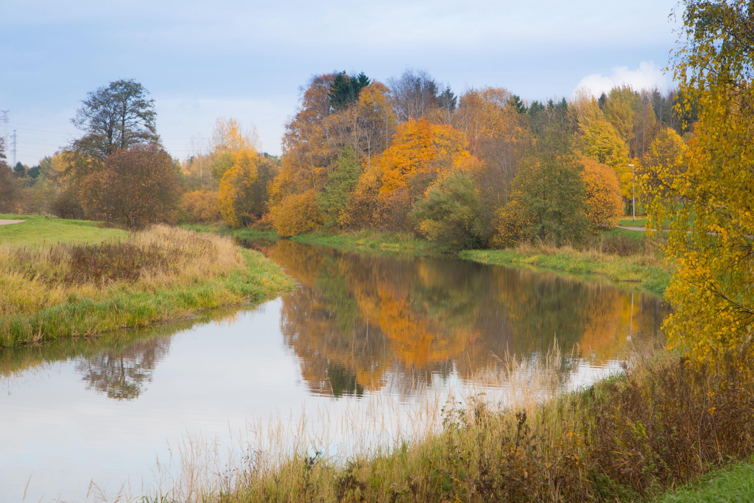 Syksyinen joki kaartuu vasemmalle