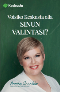 Tiedoston kansikuvassa Keskustan puheenjohtaja Annika Saarikko