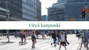 Kuva Helsingin keskustasta, jossa kävelee ihmisiä