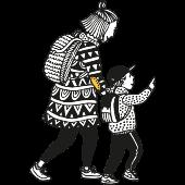 piirroskuva äiti ja lapsi kävelevät reput selässä. Arki, Lapset