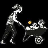 piirroskuva äiti työntää lasta kottikärryissä täynnä omenoita. lapset, arki, luonto.