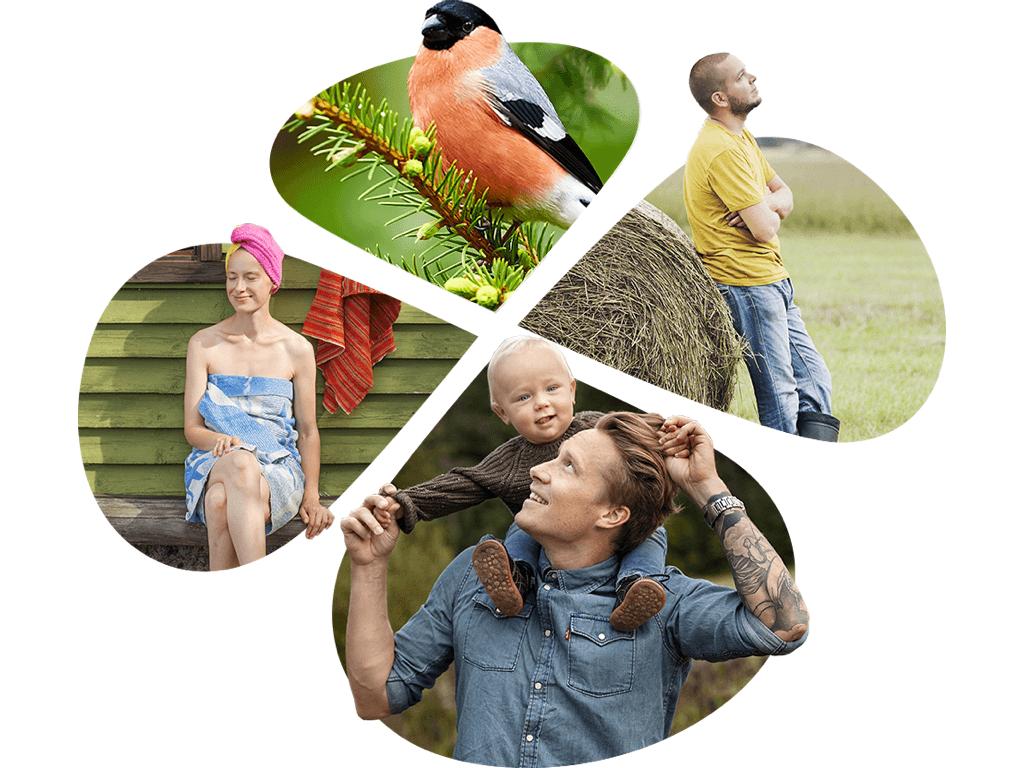 Arki, lapset, luonto. Apila-ikkunan sisällä näkyy isä ja poika, maanviljelijä, punatulkku, saunasta viilentymään siirtynen nainen.