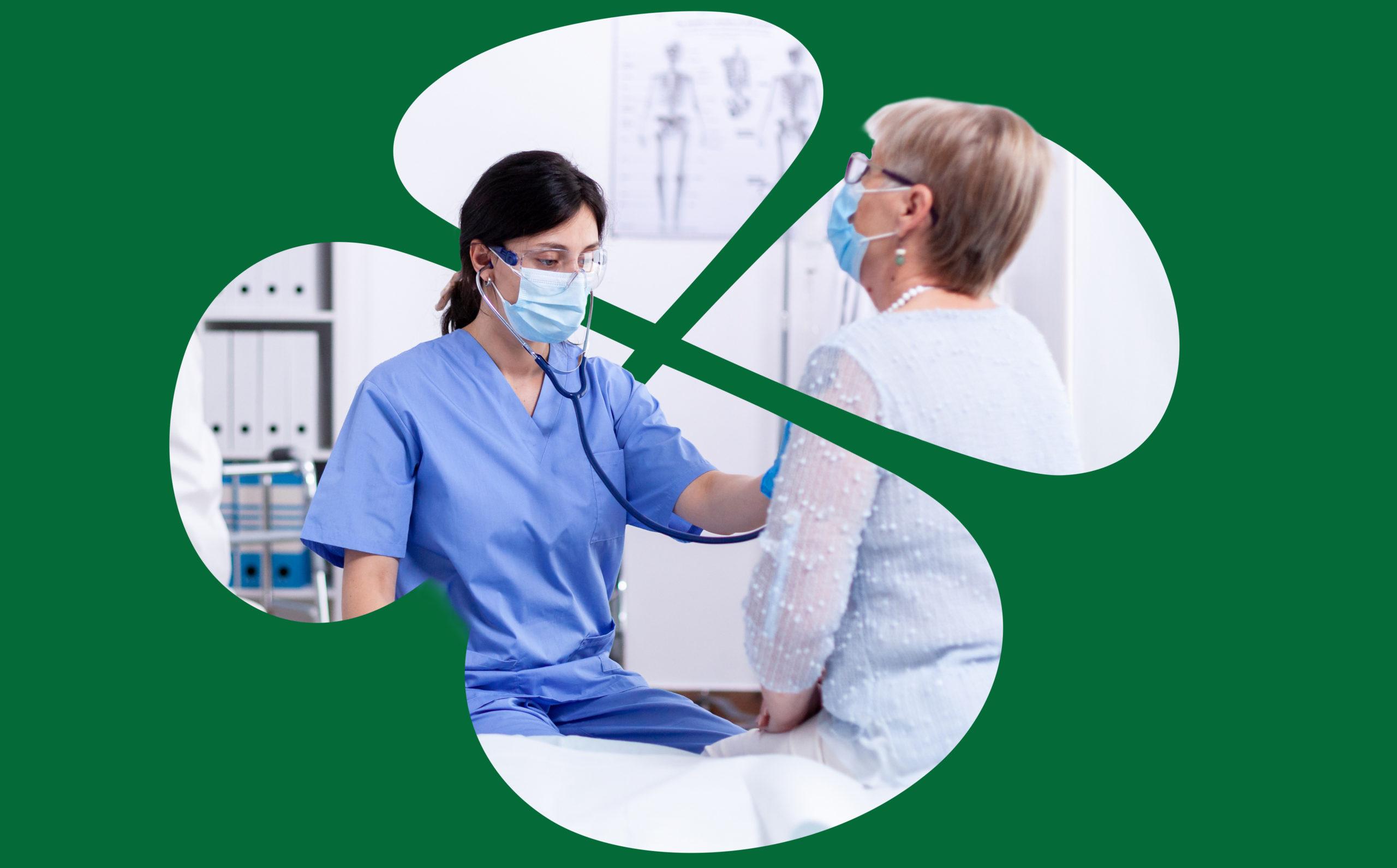 tumman vihreällä pohjalla apilakehys, jonka keskellä lääkäri ja tutkittava potilas