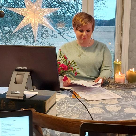 Puheenjohtaja Annika Saarikko Keskustan puoluevaltuustossa 28.11.2020