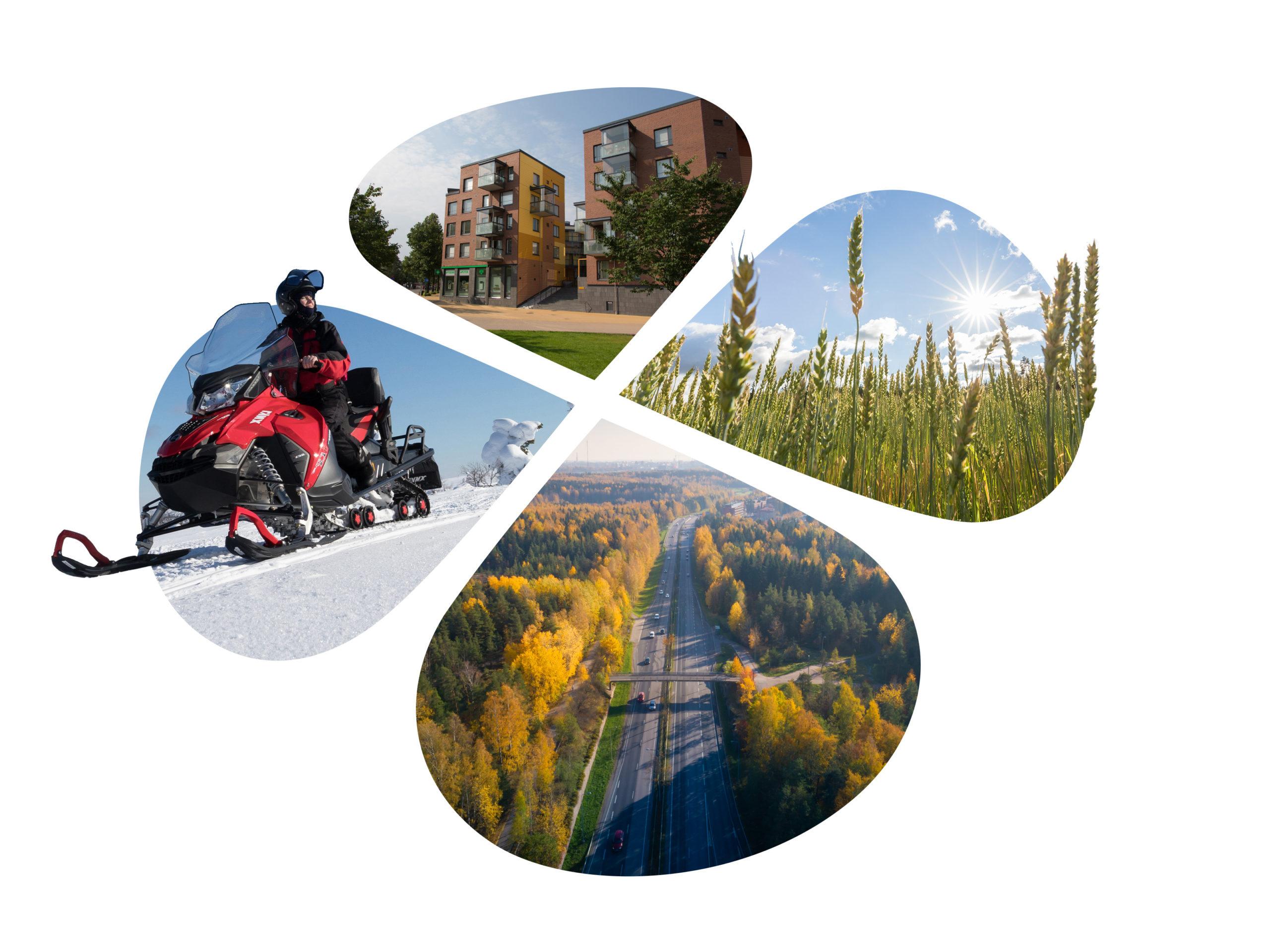 Apilanlehdyköillä upotettuna moottorikelkka sekä talvinen maisema, kaupunkilähiö, vehnäpelto ja moottoritien ilmakuva.