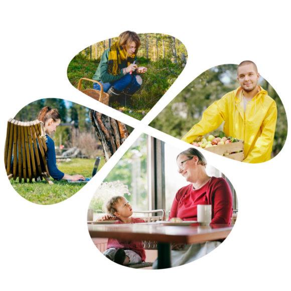 kuntavaaliapila, nuori sienestäjä, omenan keräävä mies, etätöitä tekevä nuori nainen ja isoäiti lapsenlapsensa kanssa.